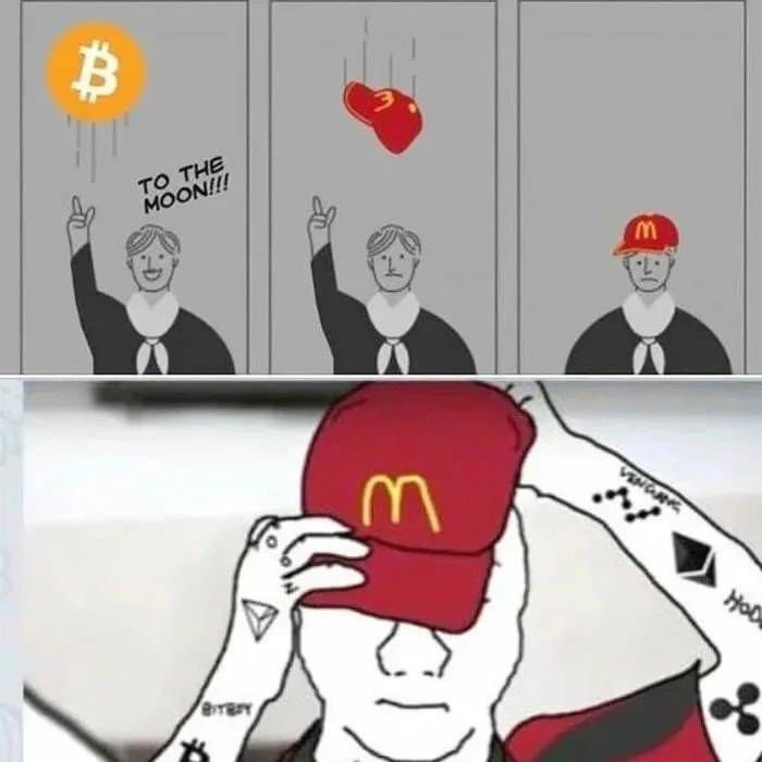 Throwing hat bitcoin to the moon receiving McDonald's hat back meme