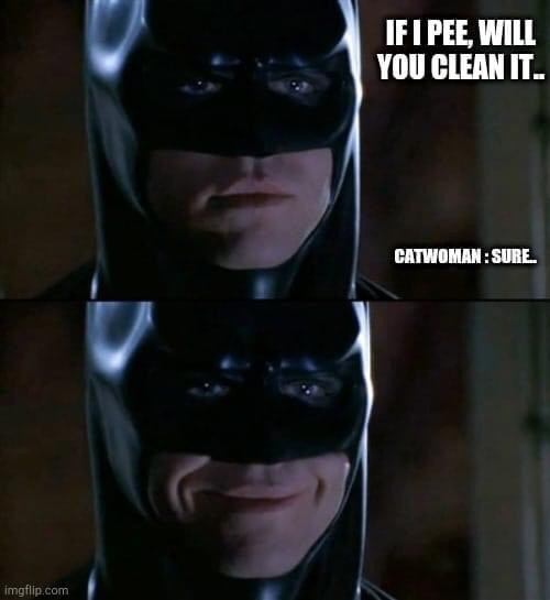 Batman: If I pee, will you clean it? Catwoman: sure