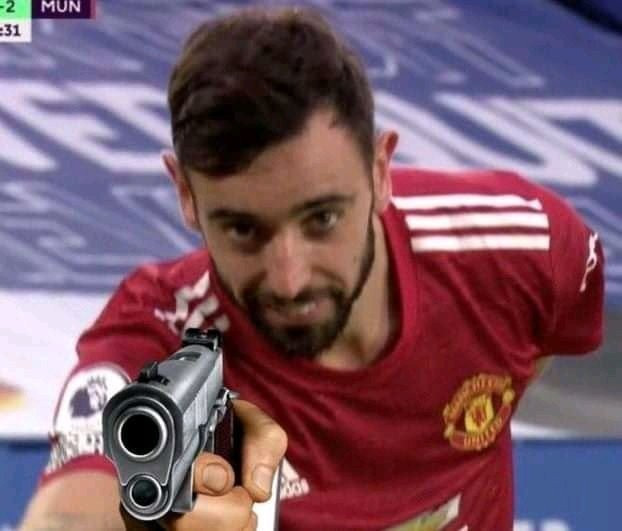 Bruno of Manchester United pointing gun to the camera meme