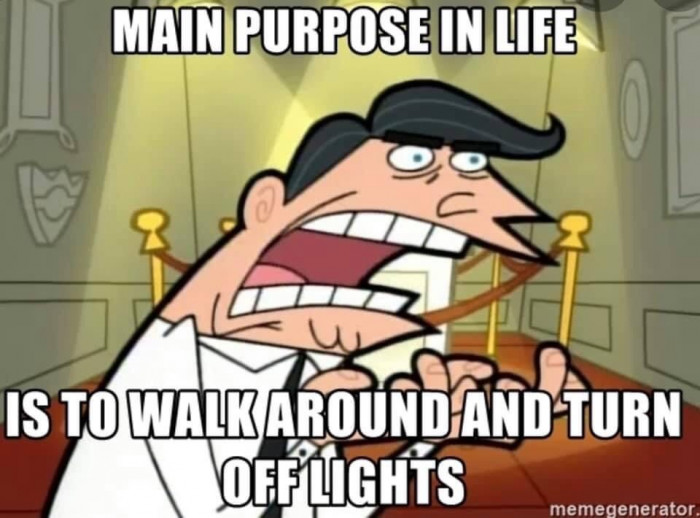 Main purpose in life is to walk around and turn off lights - dad meme