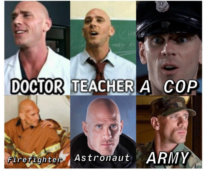 Johnny Sins many jobs meme - doctor teacher cop firefighter astronaut army